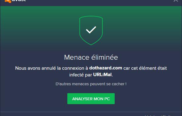 Avast URL MAL Site Bloque Menace