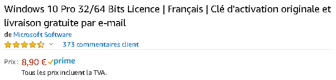 Amazon Windows 10 Pro 32_64 Bits Licence _ Français _ Clé d'activation originale