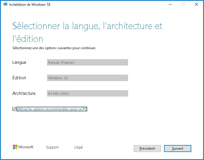Installation de ISO Windows 10