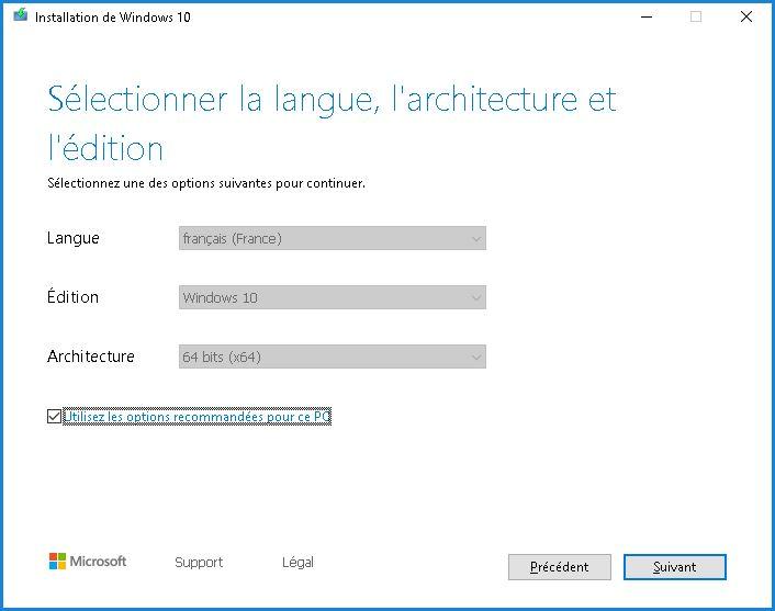 Installation de ISO Windows 10