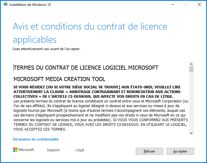 Installation de Windows 10 - Accepter la licence