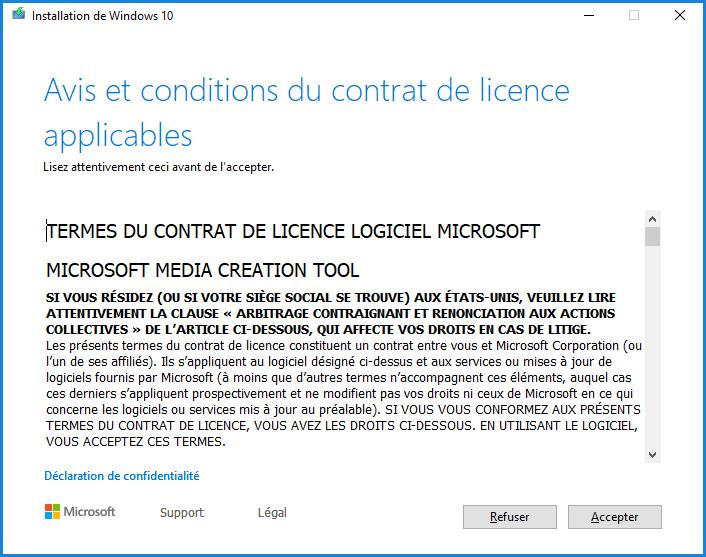 Installation de Windows 10 - Accepter la licence