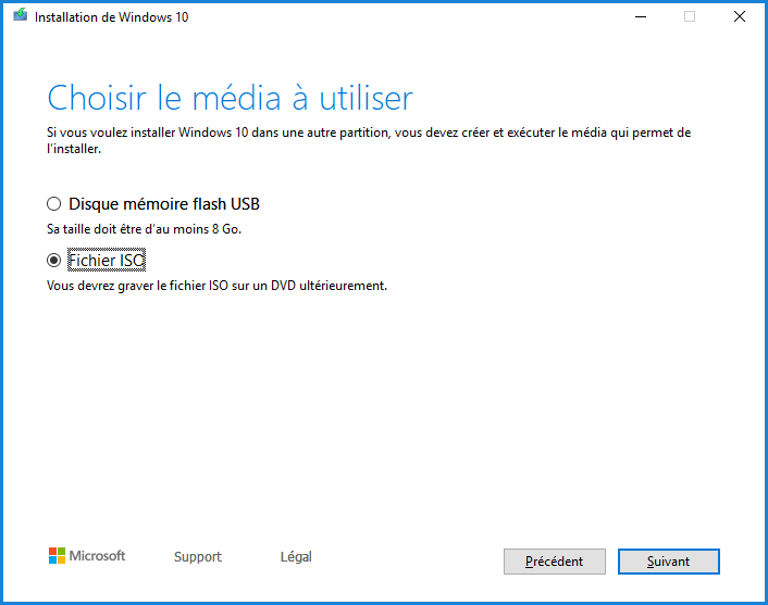 Installation de Windows 10 - Fichier ISO