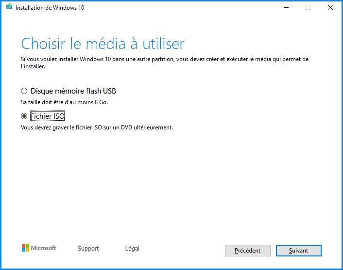 Installation de Windows 10 - Fichier ISO