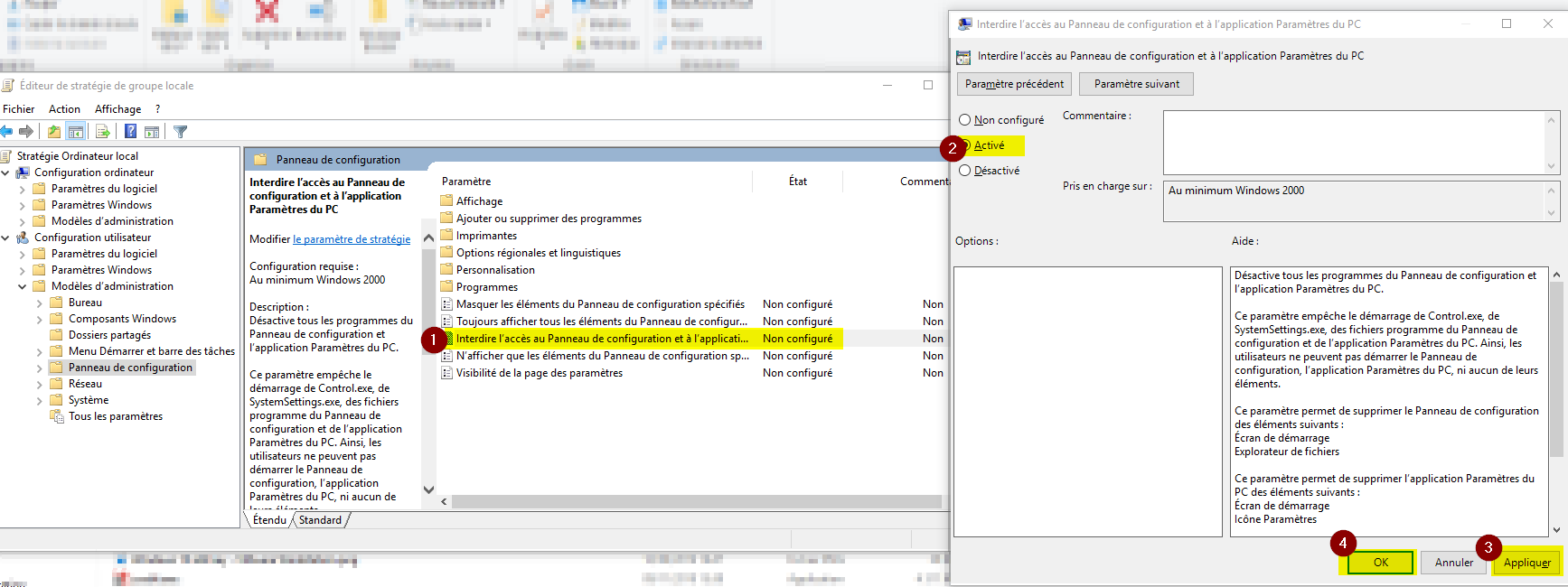 Interdire l'accès au Panneau de configuration et à l'application Paramètres