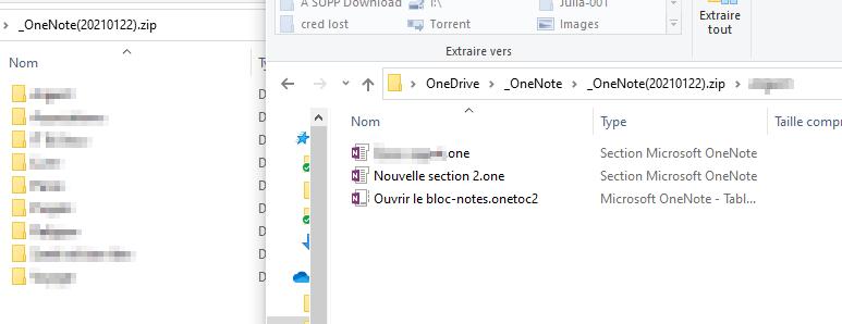 Zip Dossier backup onenote